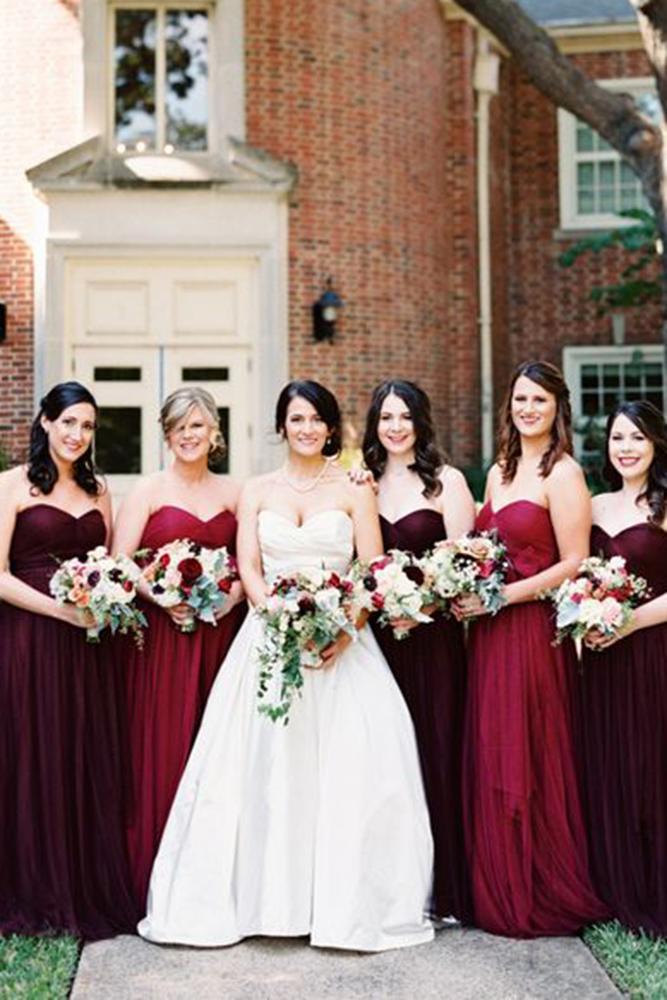 burgundy bridesmaid dresses sweetheart mismatched jenny yoo