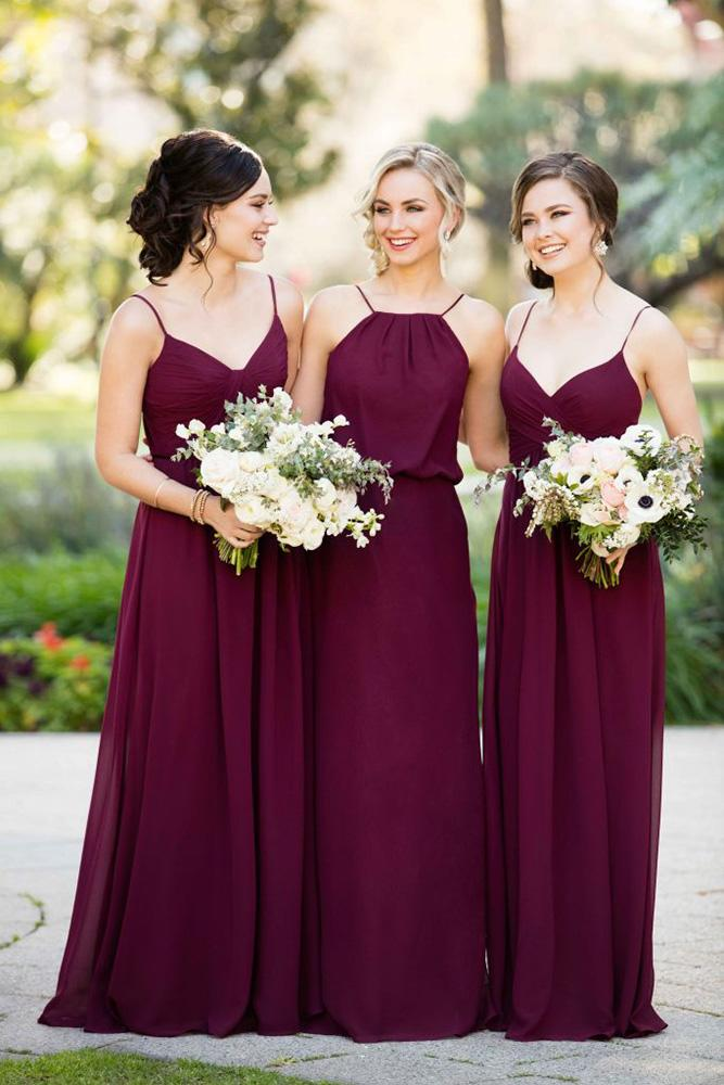 burgundy bridesmaid dresses with spaghetti straps long mismatched essense of australia