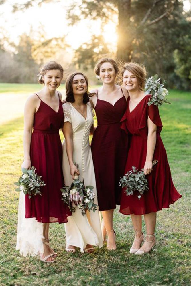 burgundy bridesmaid dresses with straps v neckline mismatched trent jessie photographers