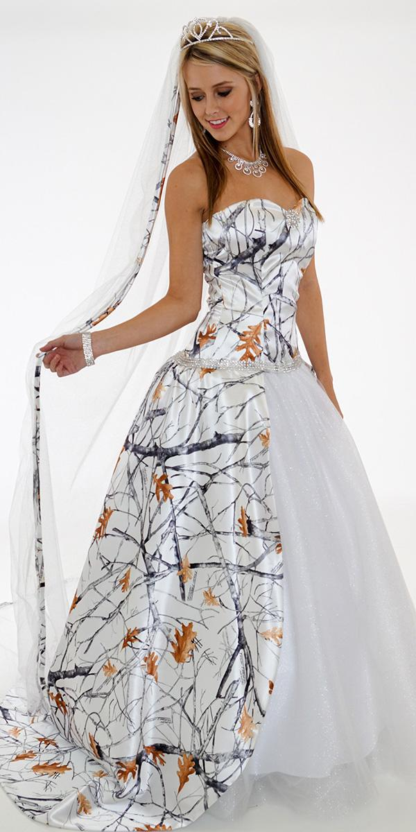 Cheap camo wedding dresses for every budget wedding dresses guide cheap camo wedding dresses a line strapless white with orange camo formal junglespirit Images