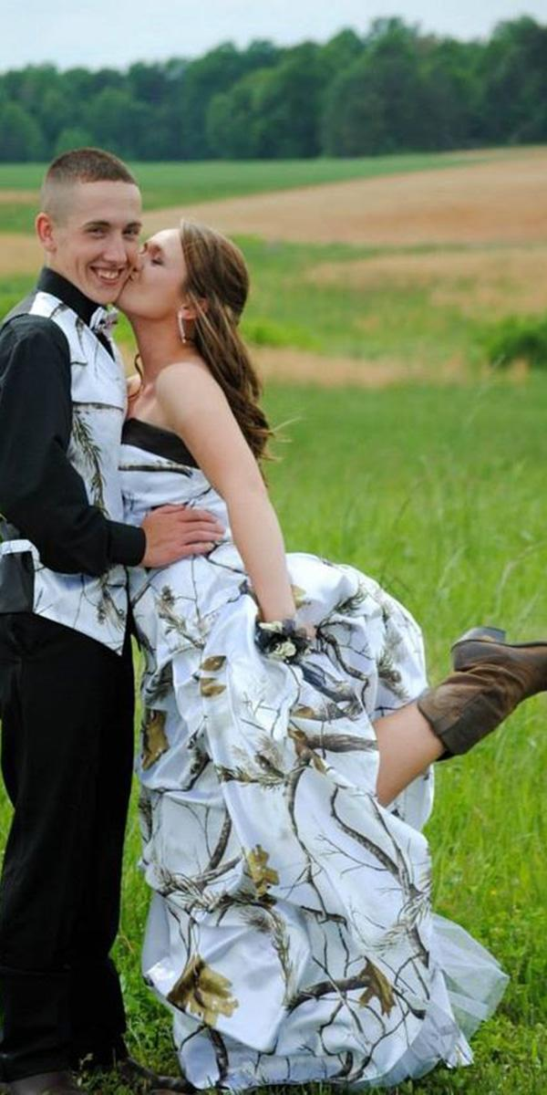 cheap camo wedding dresses a line with boots country real tree