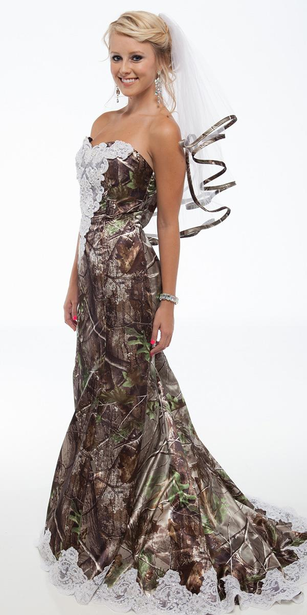 cheap camo wedding dresses mermaid strapless camouflage real tree