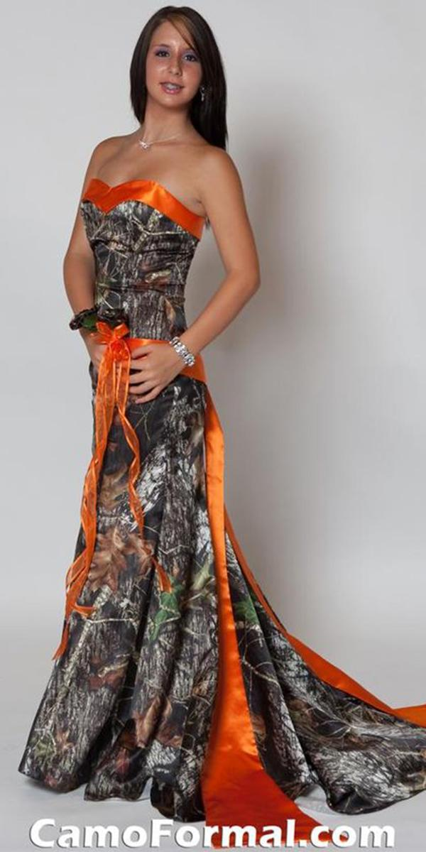 Cheap Camo Wedding Dresses Sheath Strapless Orange Under 500 Formal