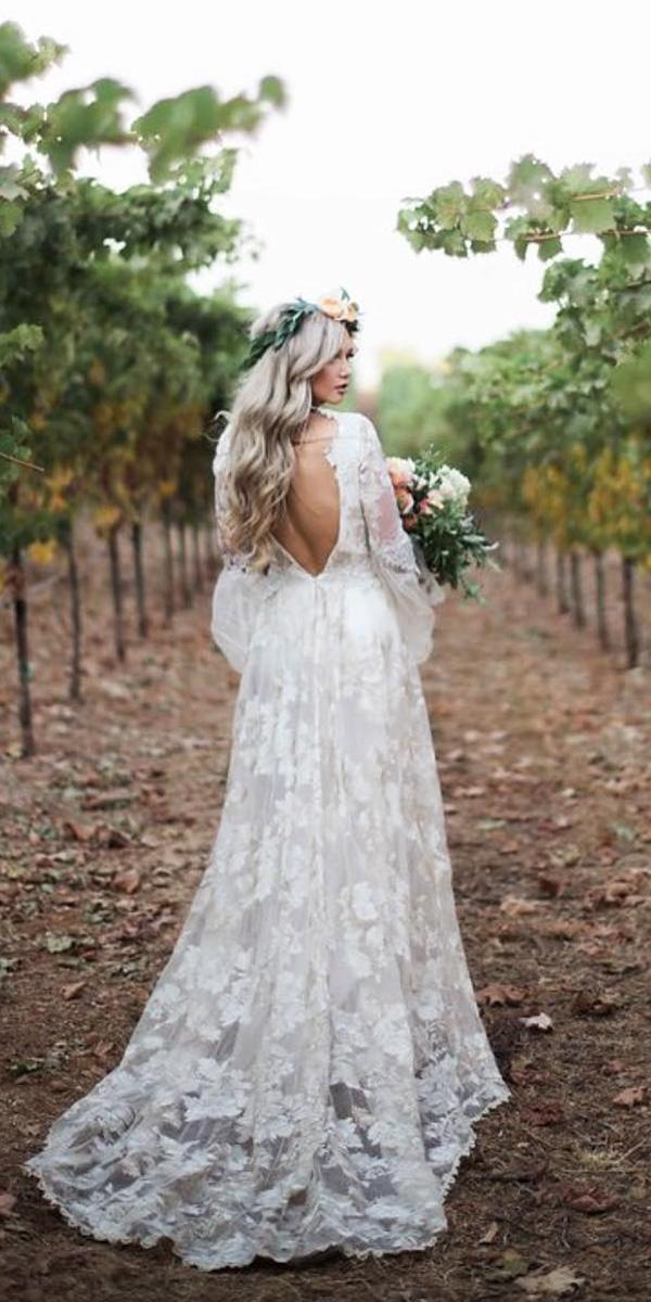 country wedding dresses a line v back with long sleeves rutic claire pettibone