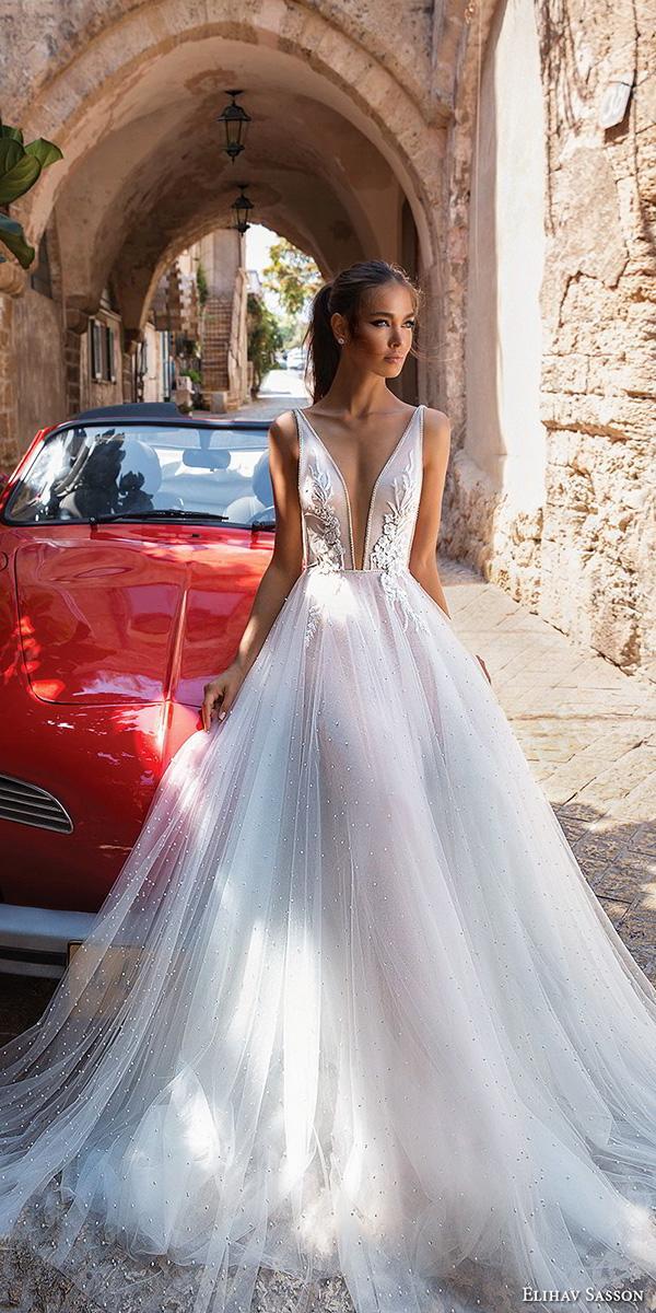 elihav sasson beach wedding dresses 2018 a line deep v neckline floral tulle skirt