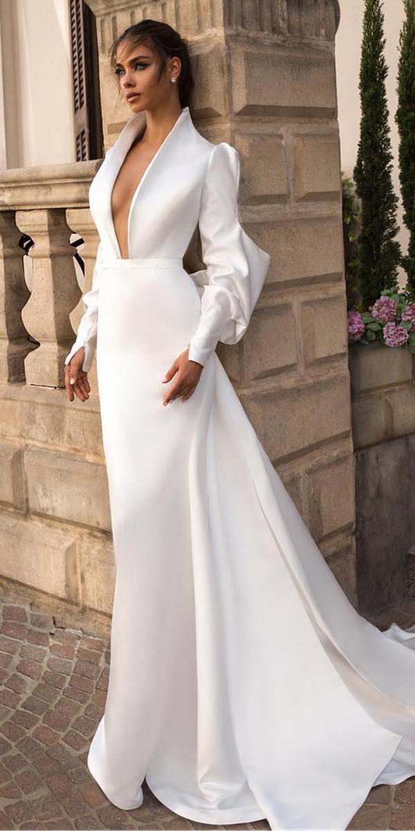 elihav sasson simple wedding dresses 2018 sheath deep v neckline puff sleeves simple romantic