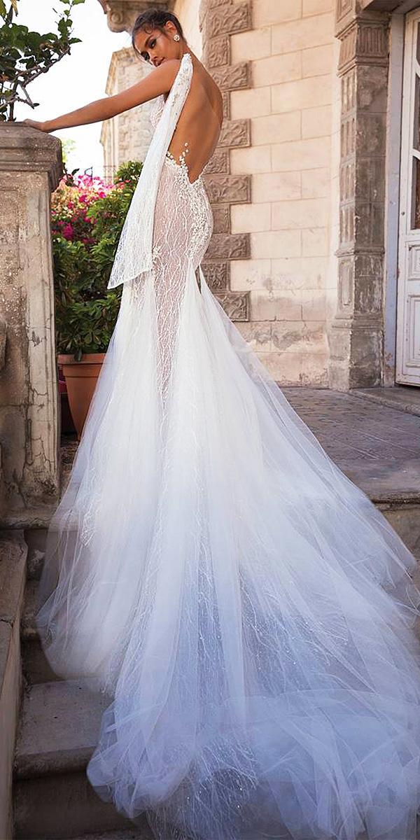 elihav sasson wedding dresses 2018 backless one shoulder tulle skirt
