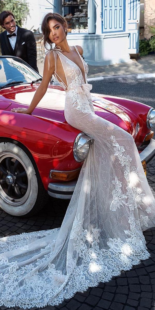elihav sasson wedding dresses 2018 sheath plunging neckline with bows beach
