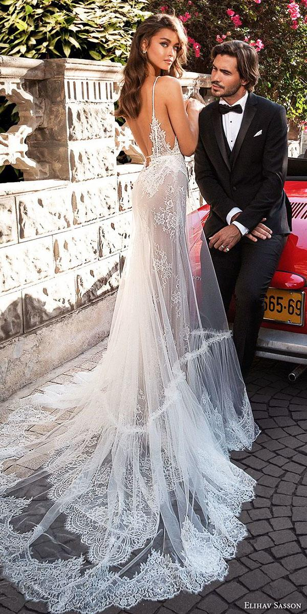 elihav sasson wedding dresses 2018 sheath with spaghetti straps low back lace floral