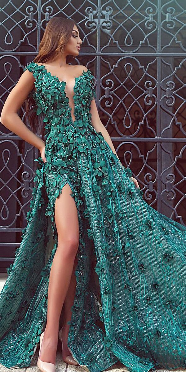 green wedding dresses a  line 3d floral with slit deep v neckline hilda couture
