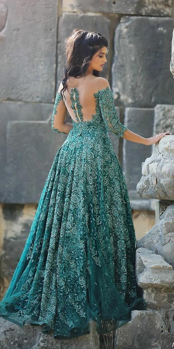 green wedding dresses a line with illusion long sleeves tattoo effect back floral appliques ahmad younes photography