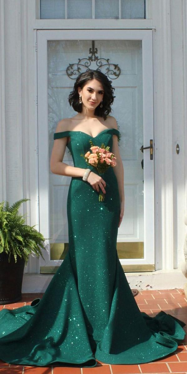 green wedding dresses sheath off the shoulder sequins jovani fashion