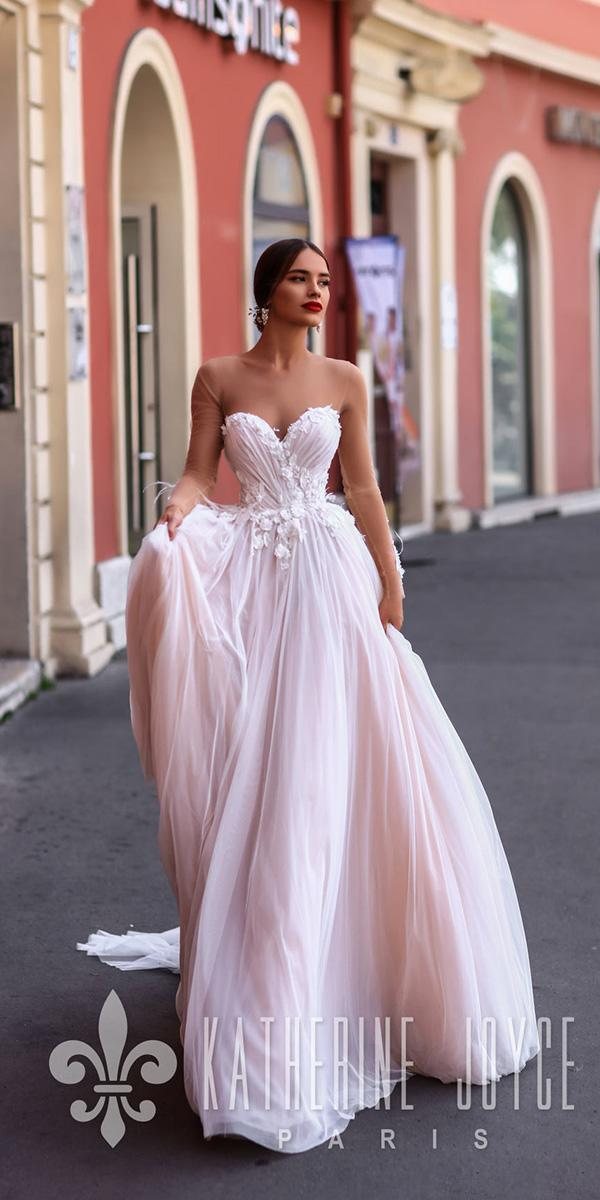 katherine joyce a line wedding dresses illusion neckline sweetheart floral pink 2018