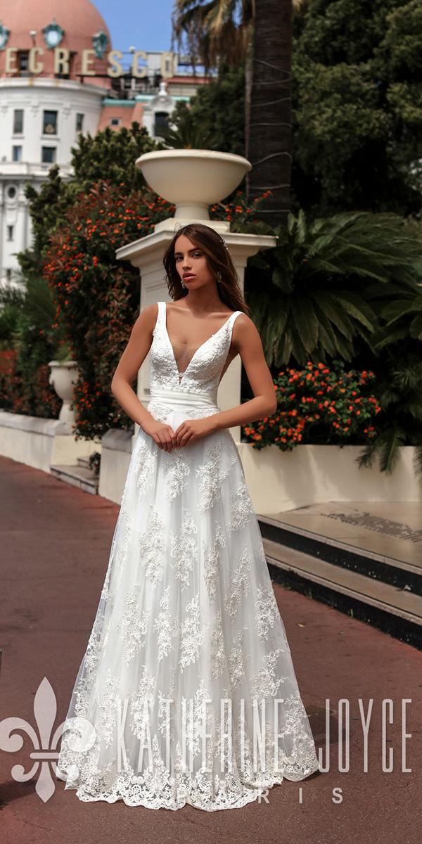katherine joyce wedding dresses a line deep v neckline lace floral 2018