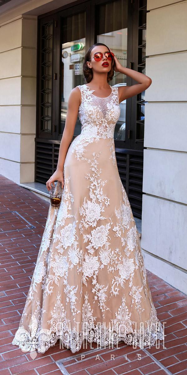 katherine joyce wedding dresses a line floral embellshment blush 2018