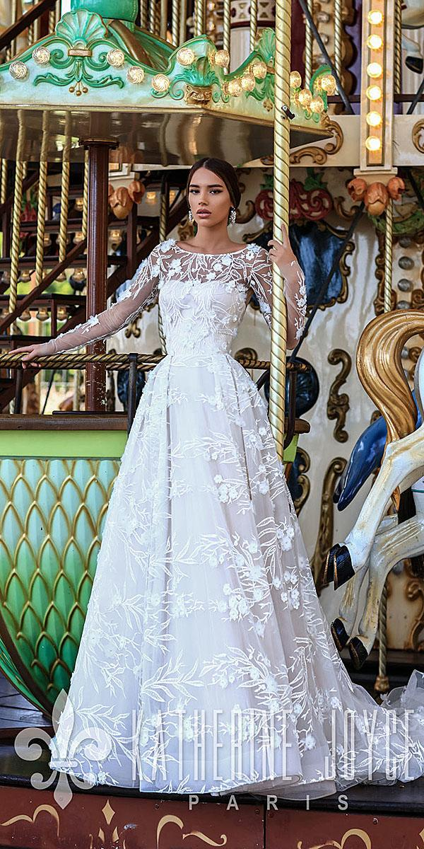 katherine joyce wedding dresses a line with illusion long sleeves floral appliques 2018