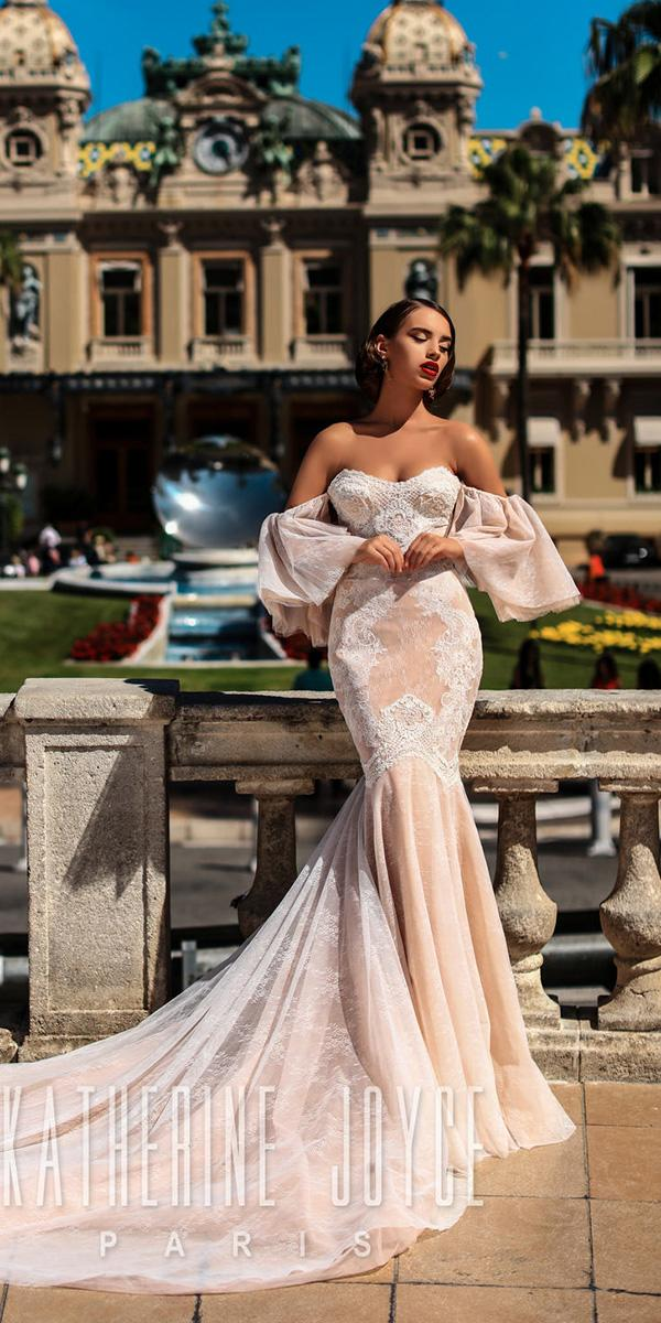 katherine joyce wedding dresses mermaid with detached sleeves lace blush 2018