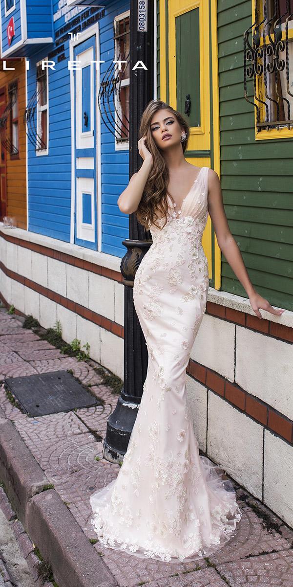 liretta wedding dresses mermaid v neckline floral