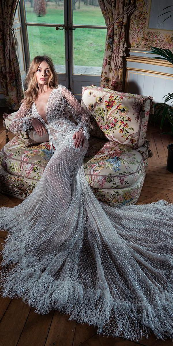 long poet sleeves deep v neck full embellishment elegant sexy fit and flare vintage wedding dresses 1920s inbal dror