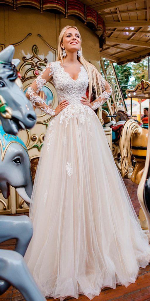 long sleeve wedding dresses a line blush v neckline lace illusion sleeves oksana mukha