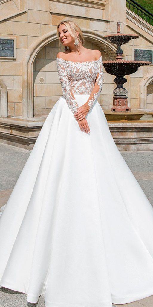 long sleeve wedding dresses a line lace off the shoulder oksana mukha