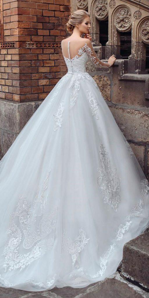 long sleeve wedding dresses ball gown lace illusion backless stella shakhovskaya