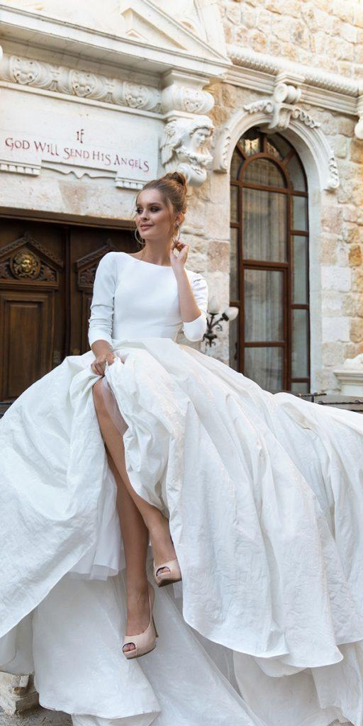 long sleeve wedding dresses ball gown simple eva lendel