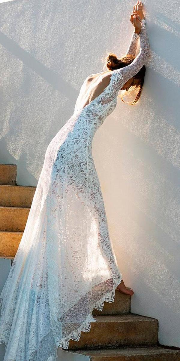 Long sleeve wedding dresses boho lace low back straight for Long straight wedding dresses