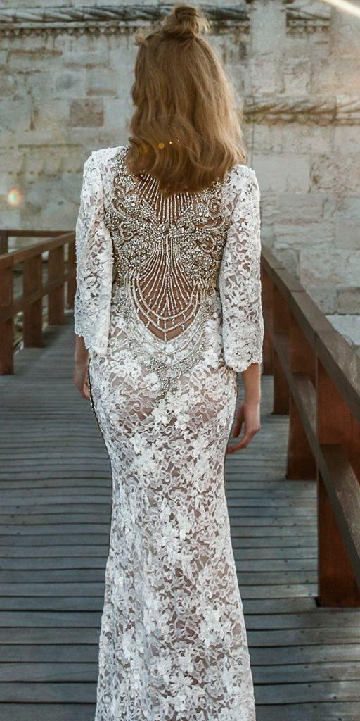 long sleeve wedding dresses full embellishment elegant sexy sheath covered lace back sweep train netta benshabu