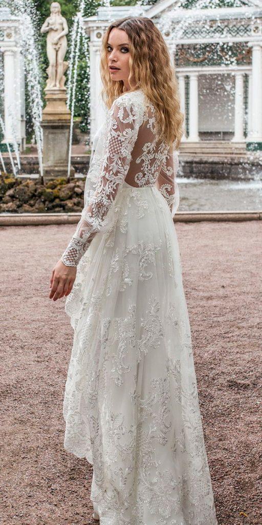 long sleeve wedding dresses full embellishment sheath a line overskirt lace back sweep train lian rokman