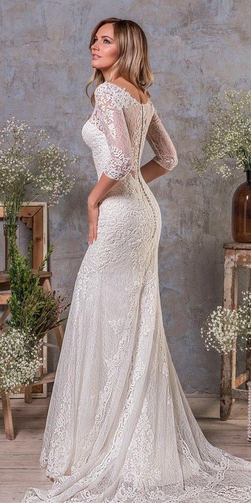 long sleeve wedding dresses heavily embellished bodice elegant drop waist covered lace back amelia sposa