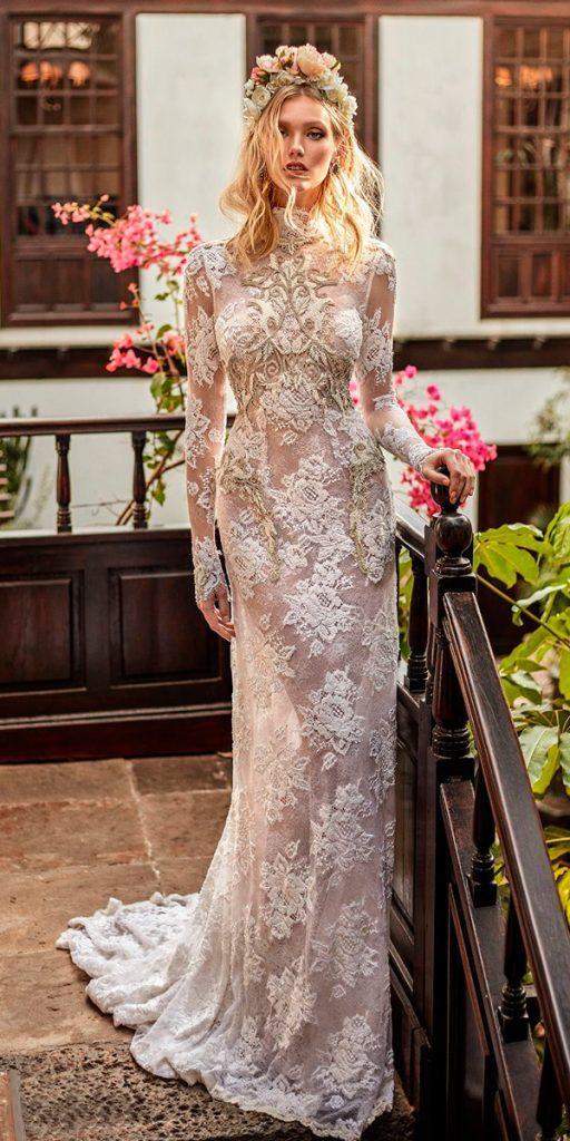 30 stunning long sleeve wedding dresses for brides wedding dresses long sleeve wedding dresses high neck full lace embellishment elegant sheath galia lahav junglespirit Choice Image