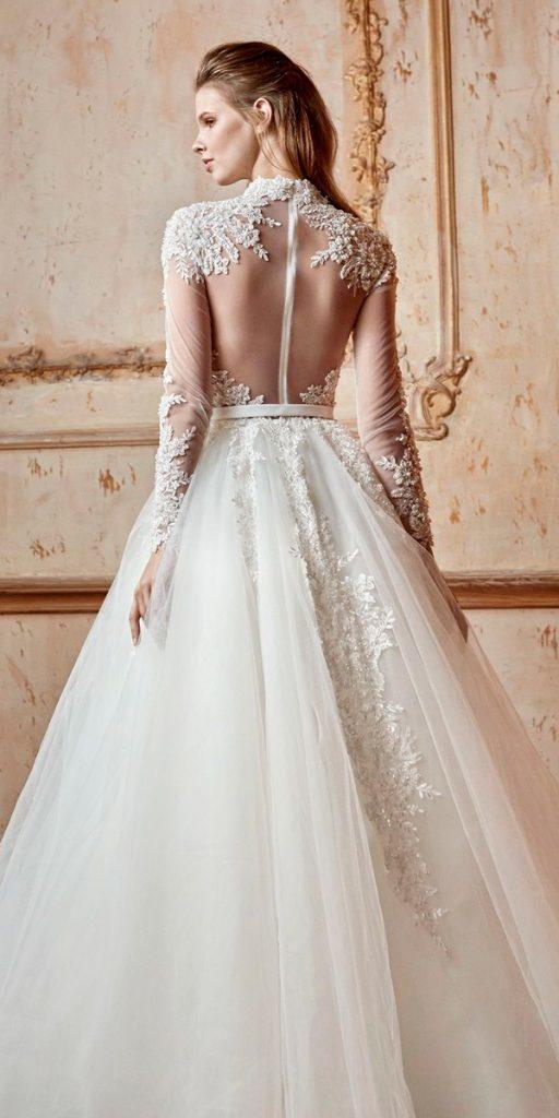 long sleeve wedding dresses high neck heavily embellished bodice romantic a line tarik ediz