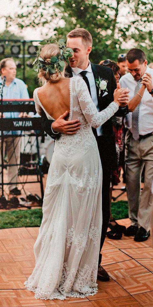 long sleeve wedding dresses lace straight low back jennaborstphoto