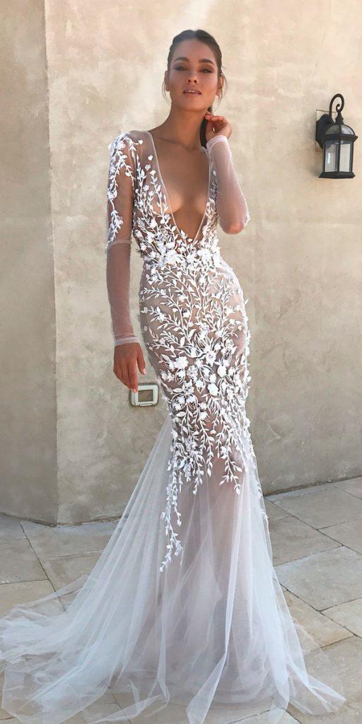 long sleeve wedding dresses mermaid deep punging v neckline berta