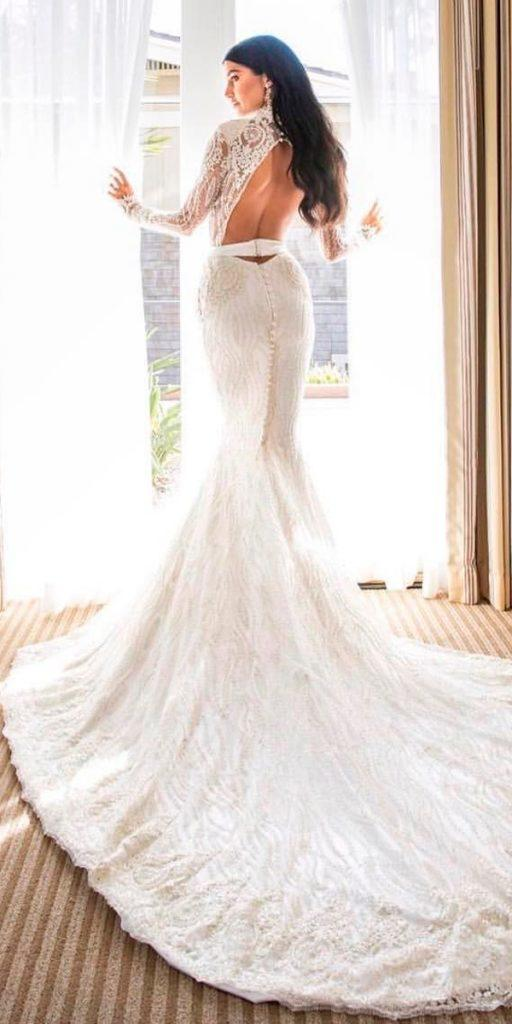 long sleeve wedding dresses mermaid lace high neckline low back michael costello