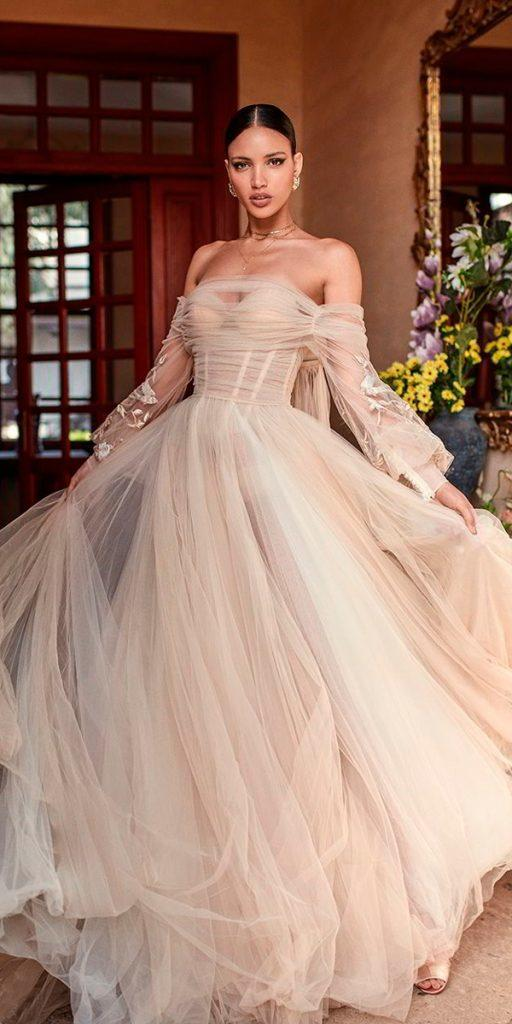 long sleeve wedding dresses off the shoulder sweetheart neckline ruche bodice champagne romantic a line galia lahav