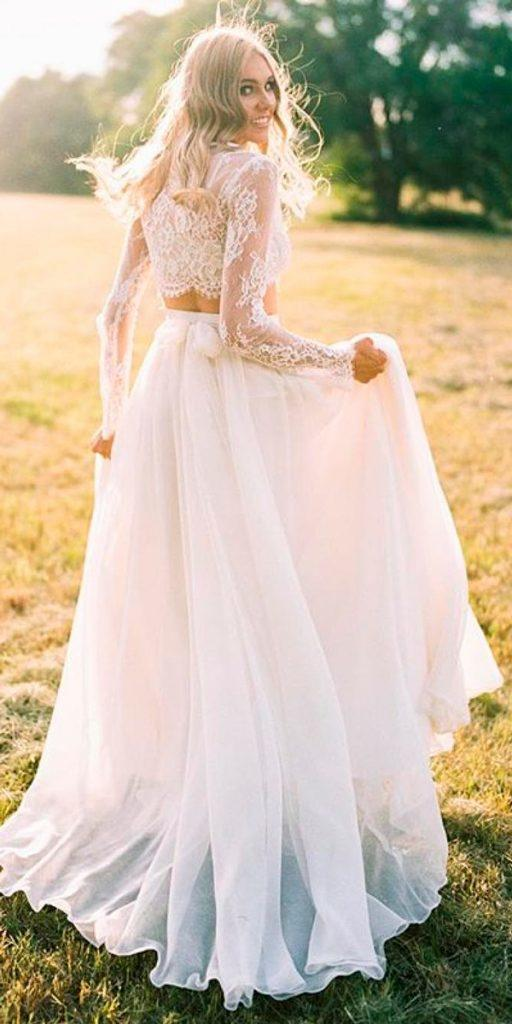 long sleeve wedding dresses separates lace backless with bow sweet caroline styles