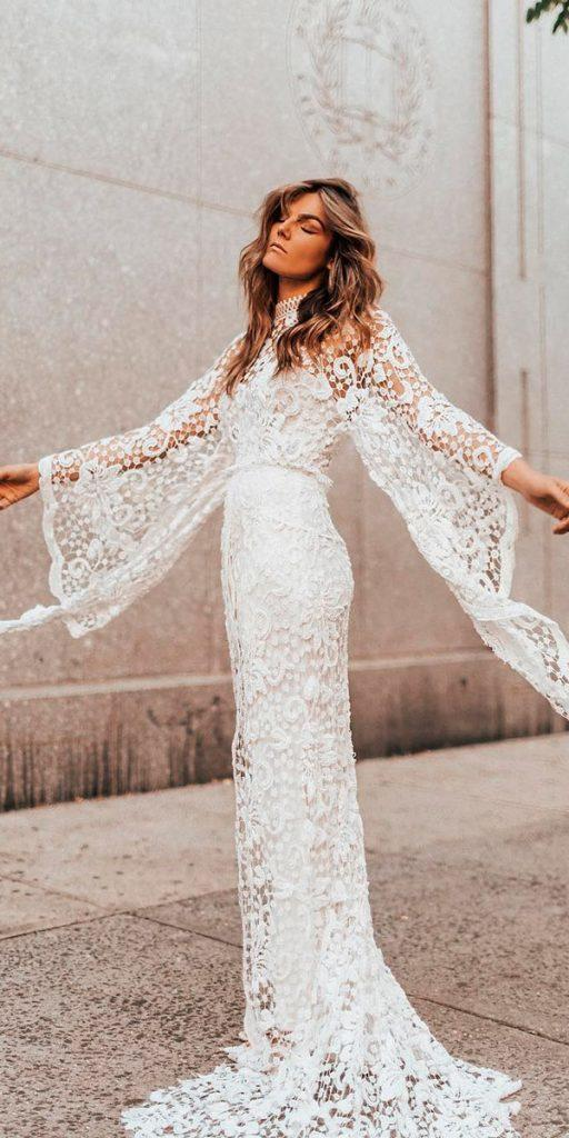 long sleeve wedding dresses sheath illusion lace sleeves rue de seine