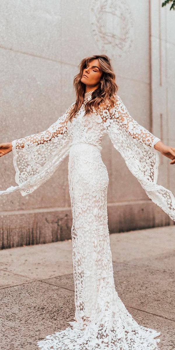 Long sleeve wedding dresses sheath illusion lace sleeves for Rue de seine wedding dress prices