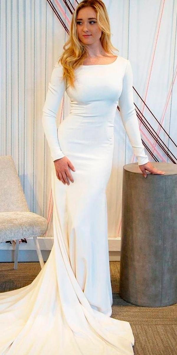 Long sleeve wedding dresses simple straight with train for Long straight wedding dresses