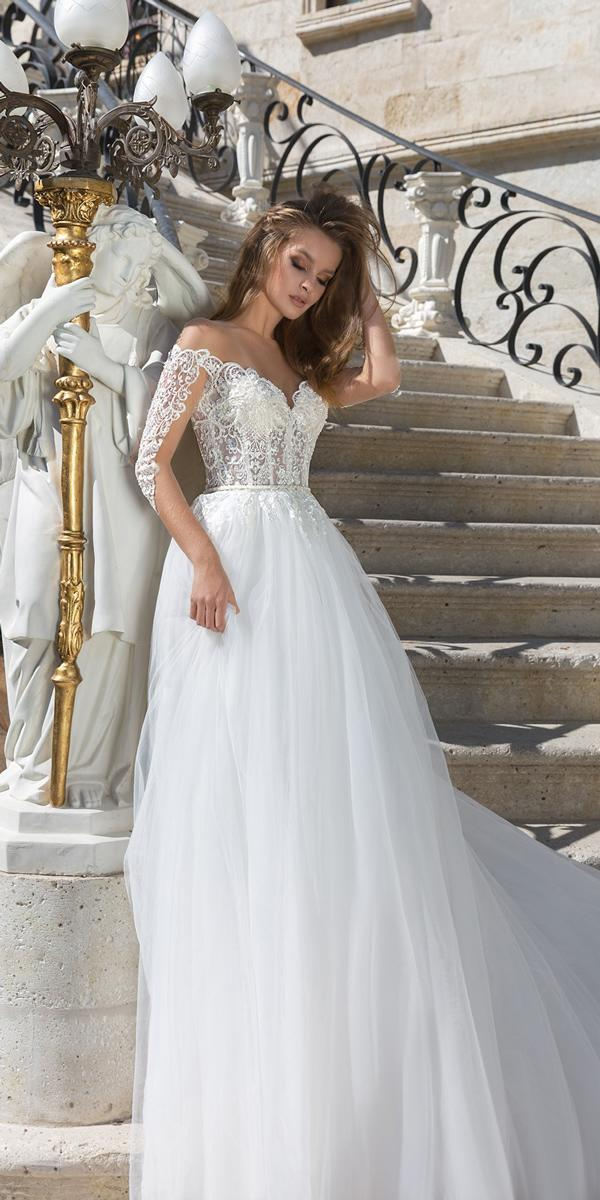 Long Sleeve Wedding Dresses Straight Lace Off The Shoulder