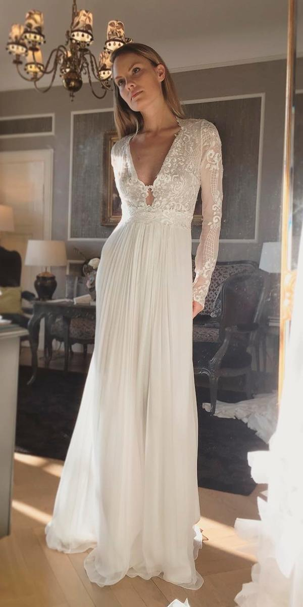 Long sleeve wedding dresses straight lace v neckline for Long straight wedding dresses