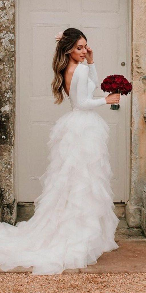 long sleeve wedding dresses straight open back with ruffled skirt halfpenny london