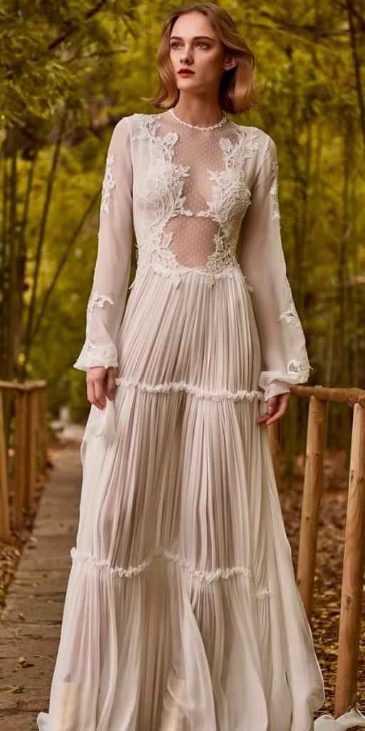 long sleeve wedding dresses vintage straight lace high neckline illusion neckline christos costarellos