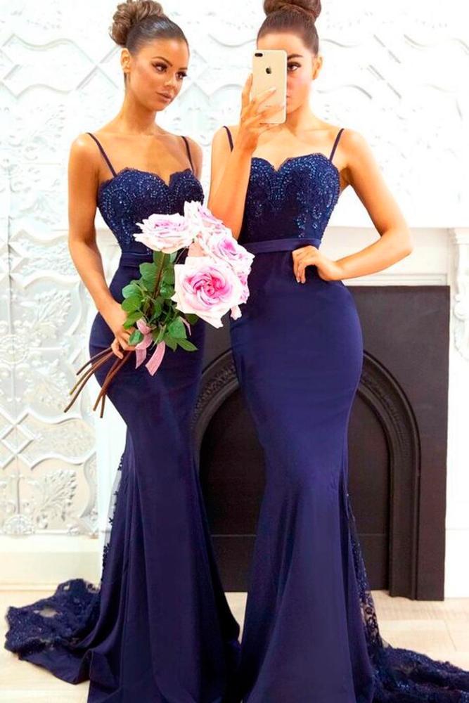 mermaid sweetheart neckline spaghetti straps navy blue bridesmaid dresses doll house bridesmaids