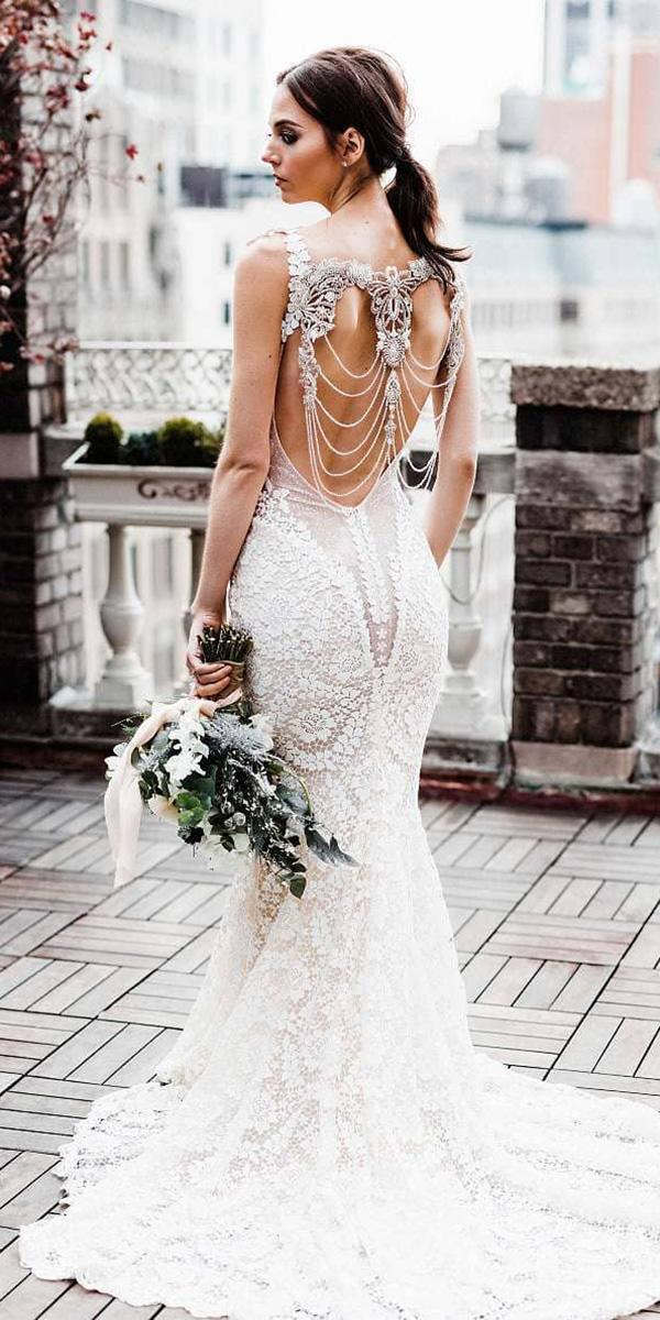 mermaid wedding dresses back beaded full lace galiavlahav