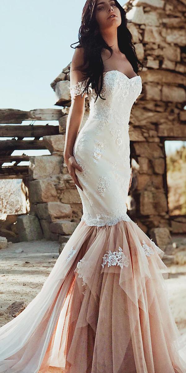 mermaid wedding dresses off the shoulder blush skirt laurene laine