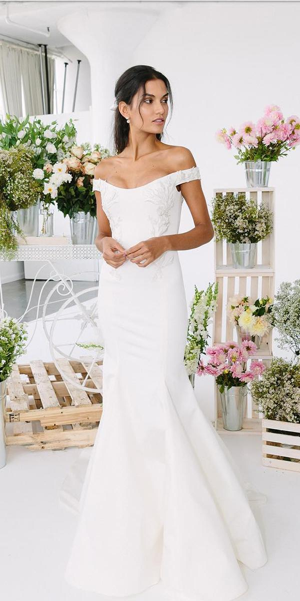mermaid wedding dresses off the shoulder modest marchesa fashion
