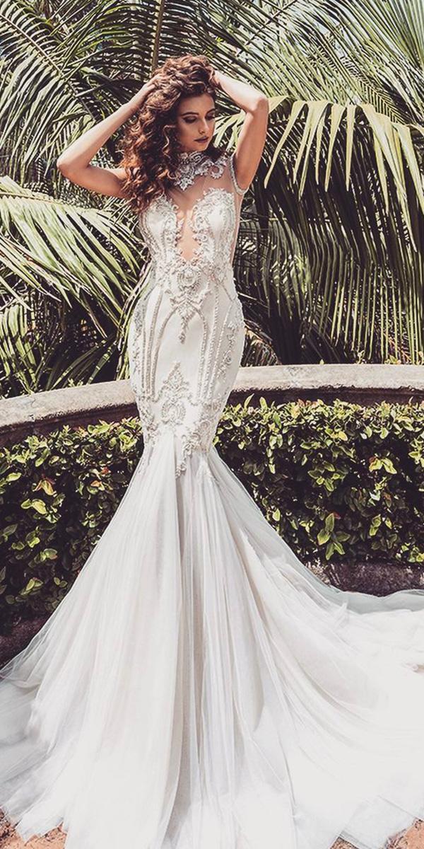 mermaid wedding dresses sweetheart high neck beaded leah da gloria